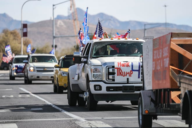 "Trump supporters drive in a ""Trump Train"" event in Las Cruces on Saturday, Oct. 31, 2020."