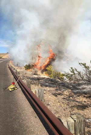 Forest Service firefighters are on scene at State Route 87 near mile marker 215 fighting a 5-acre fire in the median. The fire resulted in the closure of one lane in each direction. The cause of the fire is under investigation.