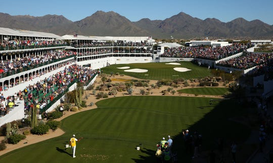 February 2, 2020; Scottsdale, AZ, USA; Tony Finau wears Kobe Bryant's #8 jersey as he plays on the 16th hole during final round action on Feb. 2 during the Waste Management Phoenix Open at the TPC Scottsdale Stadium Course. Mandatory Credit: Rob Schumacher/The Republic via USA TODAY NETWORK