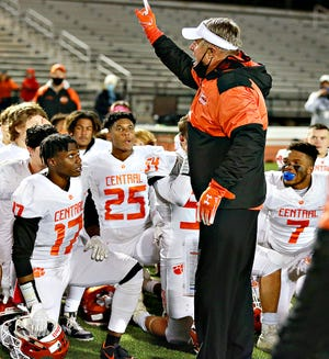 Central York head coach Gerry Yonchiuk addresses his team after its 42-15 victory over Central Dauphin in a District 3 Class 6-A semifinal at George Ebersole Stadium in Harrisburg on Friday, Oct. 30, 2020. The Panthers won the program's first-ever District 3 6-A title and finished 10-1. Saturday, Yonchiuk was named the EasternPaFootball.com Class 6-A Coach of the Year. Seven of Yonchiuk's players were All-EasternPaFootball.com picks, including six first-team selections. Dawn J. Sagert photo