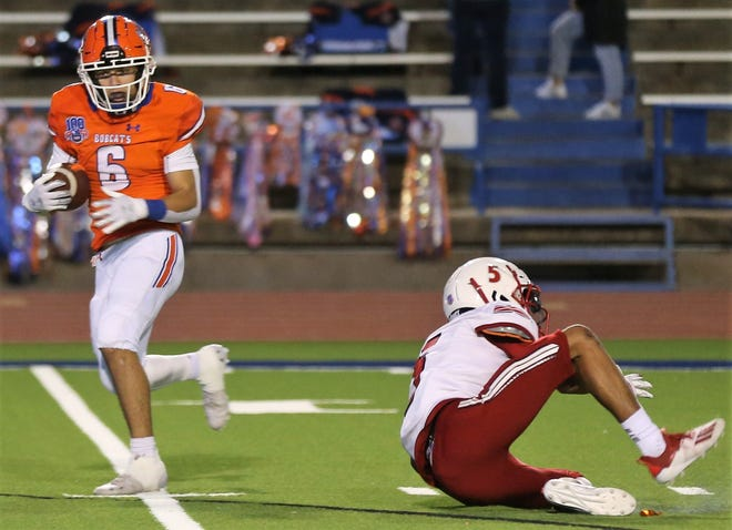 San Angelo Central's Jalen Leifeste leaves an Odessa High defender in the dust on his way to one of his two touchdown receptions in a District 2-6A football game at San Angelo Stadium on Friday, Oct. 30, 2020.