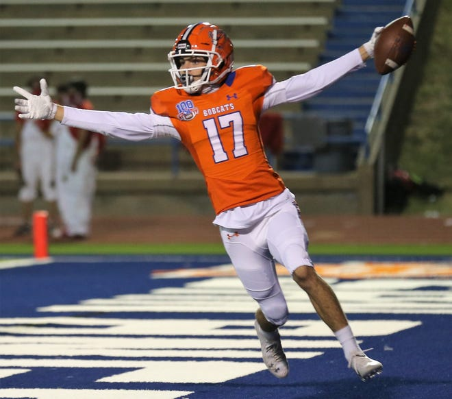 San Angelo Central's Weston Hill celebrates after scoring a touchdown against Odessa High in a District 2-6A football game at San Angelo Stadium on Friday, Oct. 30, 2020.