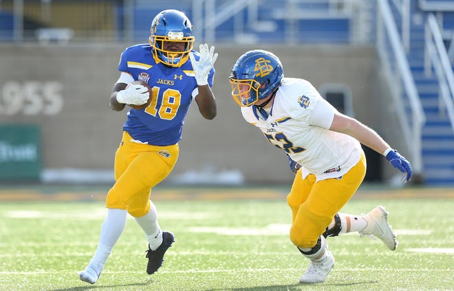 Jarod DePriest competes in the South Dakota State spring game. DePriest, a Farmington graduate, will play in the FCS national title game Sunday in Frisco, Texas.