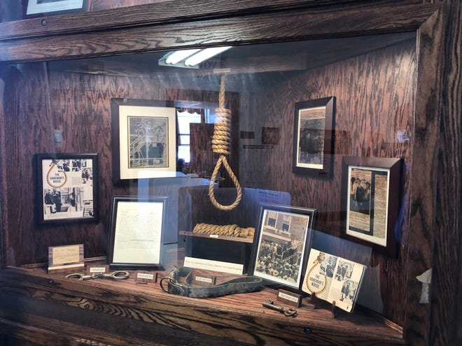 This is the exhibit commemorating the execution of Roscoe Jackson outside the Stone County Courthouse in 1937. The execution is known as the last legal hanging in Missouri.