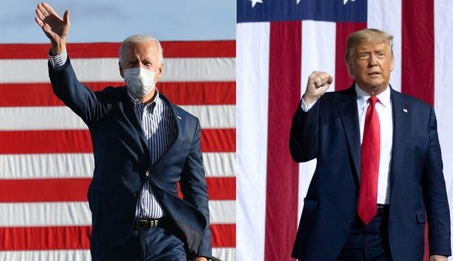 Calon presiden dari partai Demokrat Joe Biden (kiri) dan Presiden Donald Trump (kanan) digambarkan selama kampanye masing-masing.