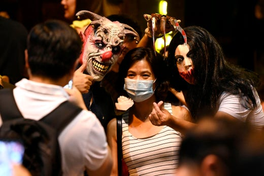 Revellers take part in Halloween in Hong Kong on October 31, 2020.