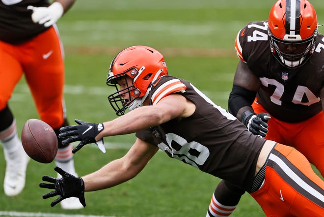 Browns tight end Harrison Bryant fumbles the ball during the first half Sunday against the Las Vegas Raiders in Cleveland.