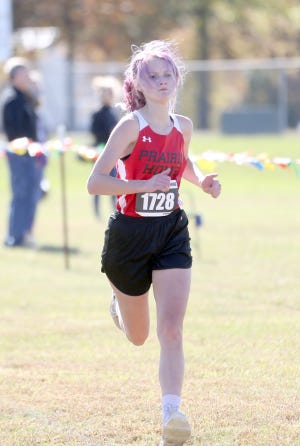 Prairie Home junior Savanna Tracy qualified for state meet after finishing 10th at the Class 1 District 4 Cross-Country Meet Saturday in Linn.