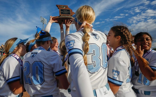 The Tolton softball team celebrates after defeating Penney 4-1 on Saturday in the Class 2 state championship at Killian Sports Complex in Springfield.