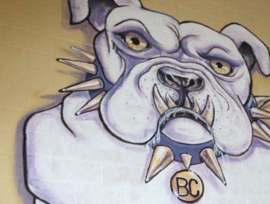 Bloom-Carroll's mascot, a bulldog, is painted on a wall at Bloom-Carroll Middle School