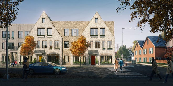 The Pizzuti Companies introduced new renderings of its Schumacher Place apartment proposal showing a more residential look along the E. Kossuth Street side of the project.