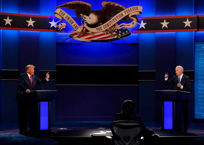 President Donald Trump, left, and Democratic presidential candidate former Vice President Joe Biden during the second and final presidential debate at Belmont University in Nashville, Tennessee, on Oct. 22. (AP Photo/Patrick Semansky, File)
