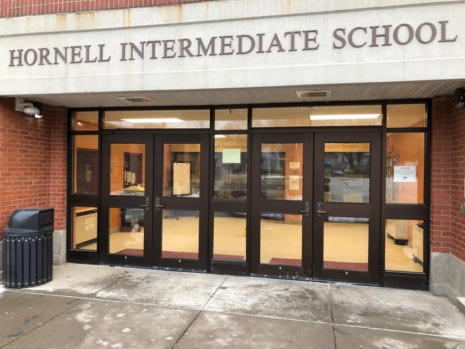 The Hornell Intermediate School, where a student has tested positive for COVID-19. Students at both the Intermediate School and Hornell High School will have remote instruction Monday and should not attend the schools.