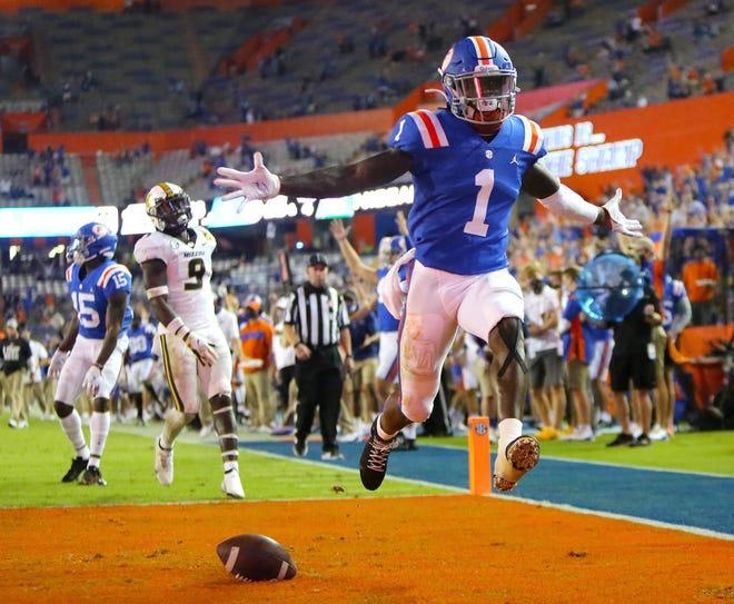 University of Florida receiver Kadarius Toney (1) scores the Gators first touchdown of the game on Saturday against Missouri, at Ben Hill Griffin Stadium.