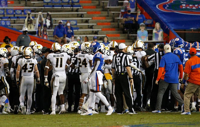 A fight broke out at the end of the first half Saturday between Florida and Missouri at Ben Hill Griffin Stadium.
