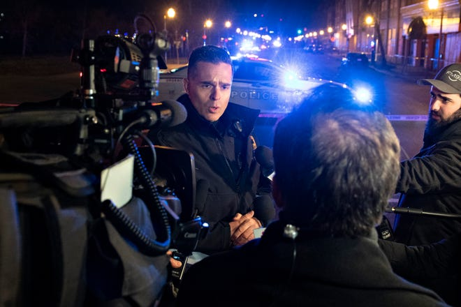 Quebec police force spokesman Etienne Doyon responds to reporters' questions in relation to stabbings early Sunday in Quebec City, Canada.