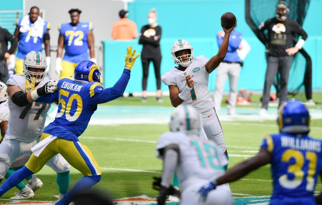 Nov 1, 2020; Miami Gardens, Florida, USA;  Miami Dolphins quarterback Tua Tagovailoa (1) throws a pass against the Los Angeles Rams in the first quarter at Hard Rock Stadium.