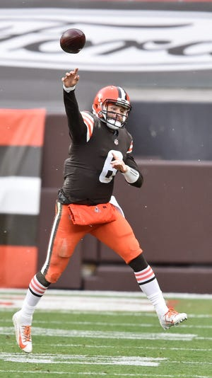 Browns quarterback Baker Mayfield throws during the first half of an NFL football game against the Raiders, Sunday, Nov. 1, 2020, in Cleveland. (AP Photo/David Richard)