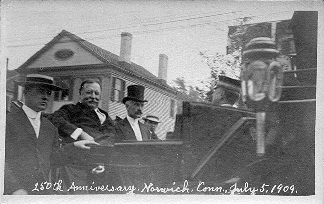 President William Howad Taft and Winslow Williams ride in a carriage at the 250th anniversary of Norwich celebration on July 5, 1909.