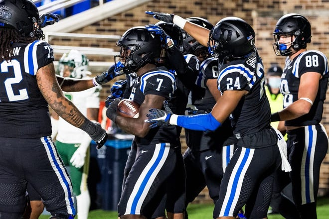 Fairmont native Jordan Waters (7) scored the first touchdown of his Duke career in the Blue Devils' 53-19 victory against Charlotte on Saturday.