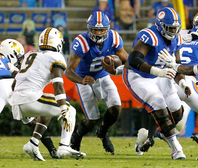 Florida quarterback Anthony Richardson runs with the ball during a game against Missouri at Ben Hill Griffin Stadium last year.