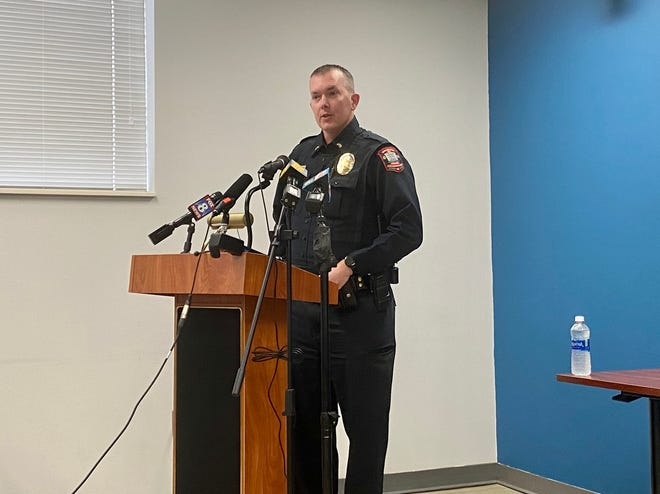 Lt. Daniel Sisk with the Graham Police Department spoke at a press conference Sunday morning, during which he recounted the events of a downtown march that turned chaotic on Saturday.