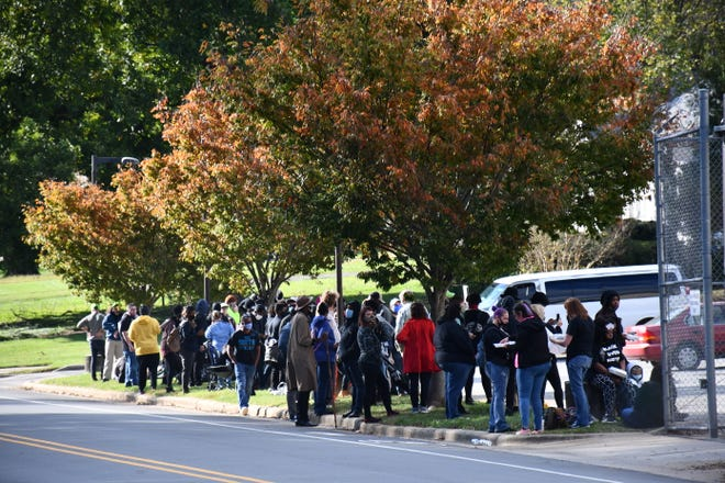 """FILE - A group of protesters gathered outside the Alamance County Detention Center on Oct. 31 following arrests at the """"I Am Change"""" event meant to promote voting."""