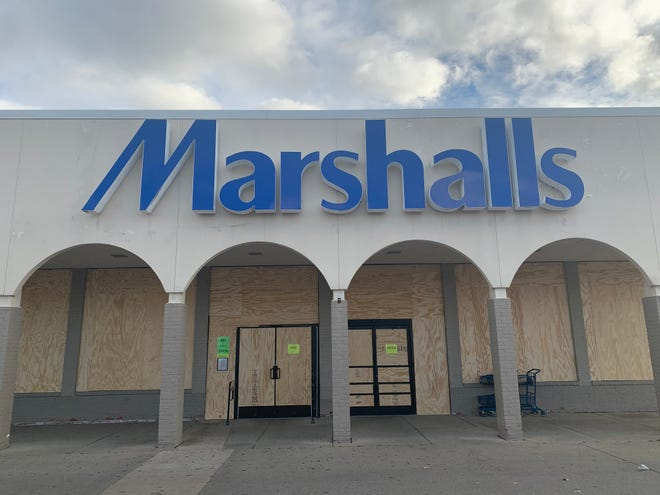 A Marshalls at Westborn Mall in Dearborn with boarded up windows.