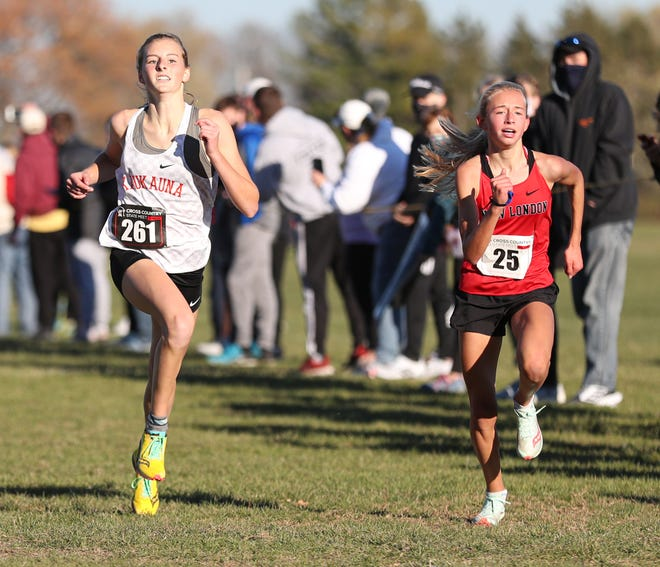 Kaukauna's Alexa Kinas, left, and New London's Macy Reybrock run side by side as they approach the finish line during the WIAA Division 1 state cross-country meet last October in Hartland.