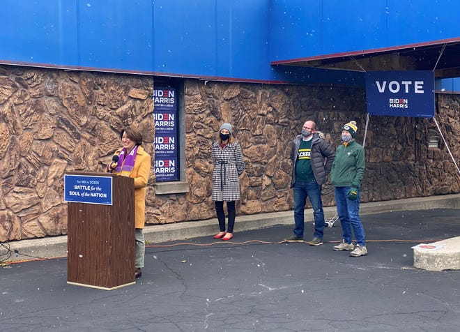 Minnesota Sen. Amy Klobuchar speaks to supporters Sunday at the Democratic Party of Brown County office in Green Bay.