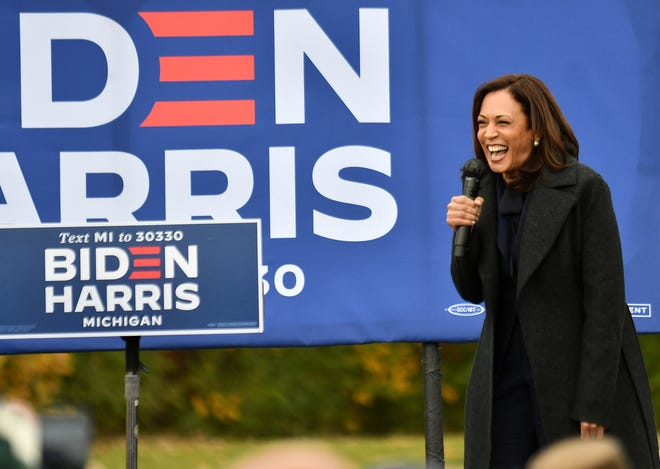 Democratic vice presidential candidate Sen. Kamala Harris (D-CA) speaks at the Canvass Kickoff event at the Troy Community Center in Troy, Michigan, on Sunday, Oct. 25, 2020. (Robin Buckson/The Detroit News/TNS)