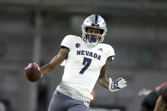 Wolf Pack receiver Romeo Doubs averaged more than 31 yards per reception against UNLV on Saturday.