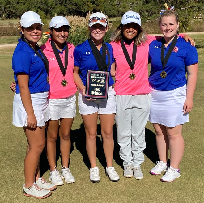 San Angelo Central High School won the team title and Ryann Honea (with plaque) was the medalist champion at the Abilene ISD Halloween Girls Golf Classic on Saturday, Oct. 31, 2020.