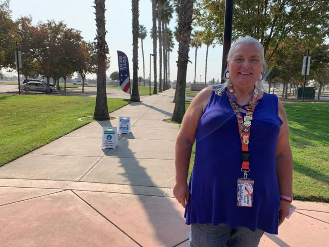 Tamara Bock, a poll worker at Prosperity Sports Park Clubhouse in Tulare.