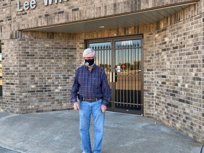 Wichita County Judge Woody Gossom is seen Sunday outside a newly chosen voting location at 2901 Lydia. This location will be used instead of The Bridge Church.