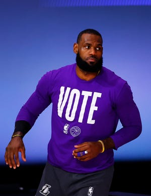 LeBron James led a More Than A Vote campaign during the 2020 presidential election cycle. The effort was aimed at helping turn sports and music venues in voting centers, partnering with teams and Live Nation.