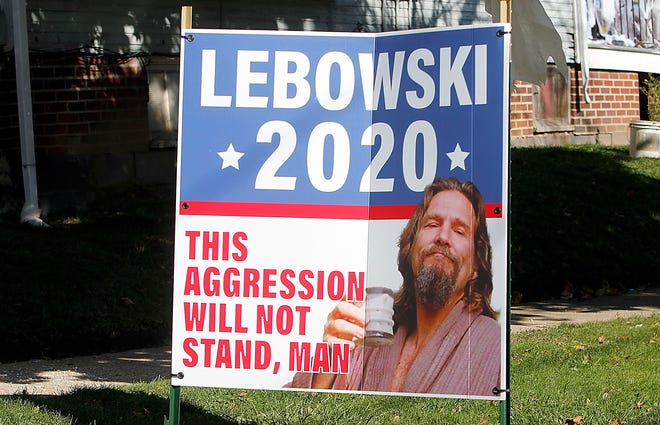 """This sign promoting Jeffrey """"The Dude"""" Lebowski for president was posted along West Fourth Street in Ashland. It's unclear by whom."""