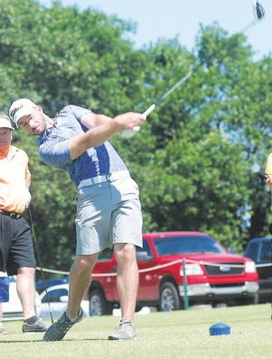 Jordan Boerio makes a powerful drive during competition a few years ago at the Adams Golf Course.