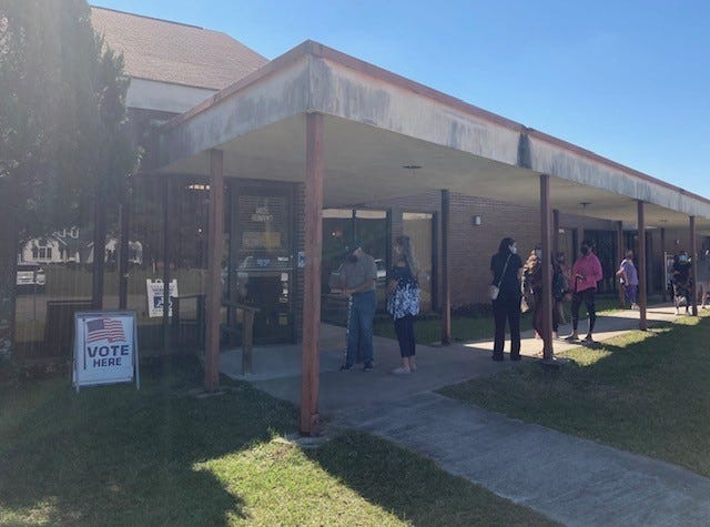Voters line up for in-person absentee voting Oct. 27 at the Jasper County Board of Elections and Voter Registration office in Ridgeland.