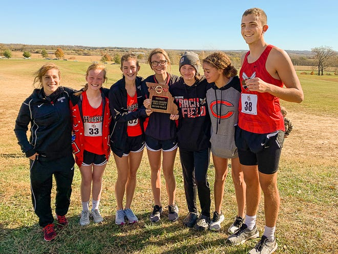 Chillicothe (Mo.) HS' contingent which has qualified for this coming Thursday's (Nov. 5) 2020 Class 3 State Championships at Columbia poses for a photo after earning their collective way to state with their District 8 meet performances at Platte City Saturday (Oct. 31) includes, from right, lone Hornets qualifier Hayden Simmer and the full Lady Hornets squad of Aliyah Briner, Emily Shipers, Kadence Shipers, Juliann Gabrielson, and Kaylynn Cranmer. First-year head coach Jennifer Dickson is at left. The girls' team advancement is the first for CHS since 1987.