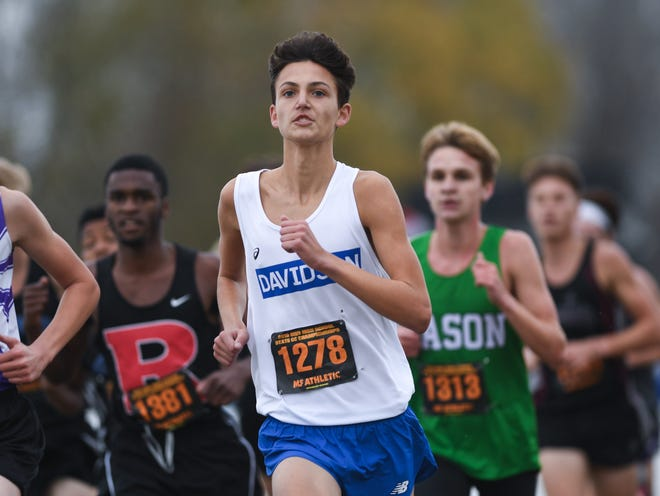 Hilliard Davidson's Connor Ackley, shown running in the Division I state meet in 2019, is expected to challenge for the state title on Saturday at Fortress Obetz.