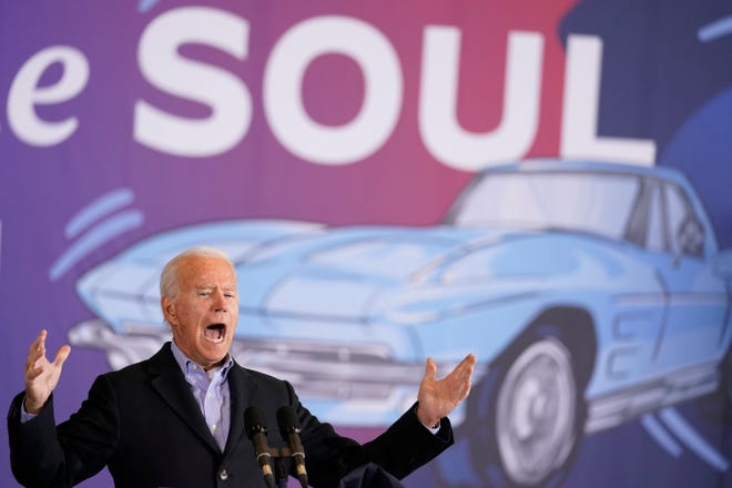 Former Vice President Joe Biden speaks at a rally at Cleveland Burke Lakefront Airport on Monday.