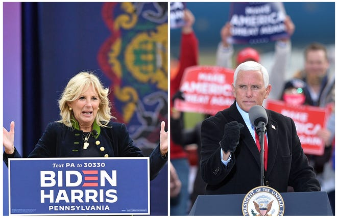 In this composite image, former second lady Jill Biden, at left, wife of Democratic presidential candidate Joe Biden, and Vice President Mike Pence both held rallies in Erie on Monday.
