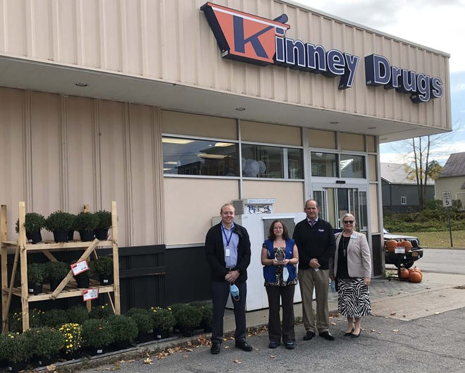 Rachel Simmons, a customer experience supervisor at Kinney Drugs in Dolgeville, was named the pharmacy chain's Favorite Employee of 2020. Pictured from left are Bryan Jones, regional pharmacy manager; Simmons; Jon Wing, regional retail manager; and Rebecca Bubel, president.