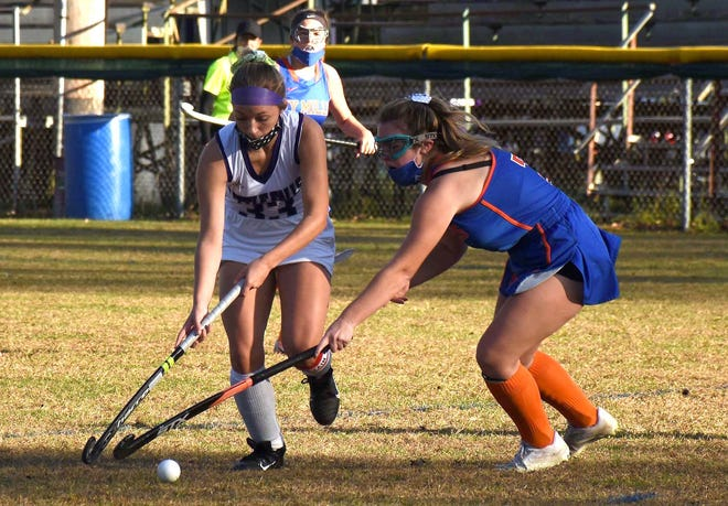 Allyson Nichols, pictured at left playing in an Oct. 15 game against New York Mills at Veterans Memorial Park, scored one of the goals Saturday in the Little Falls Mounties' 4-0 win over Sauquoit Valley.