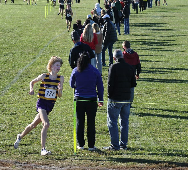 Blue Springs' Brock Wooderson turns the corner toward the finish line during the Class 5 District 7 cross country meet Saturday at Lee's Summit North High School. Wooderson won in 16 minutes, 12.82 seconds to help his team take second and earn a team state berth.