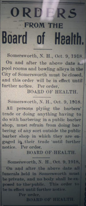 Orders issued by the Somersworth Board of Health in 1918 regarding the Spanish flu epidemic.