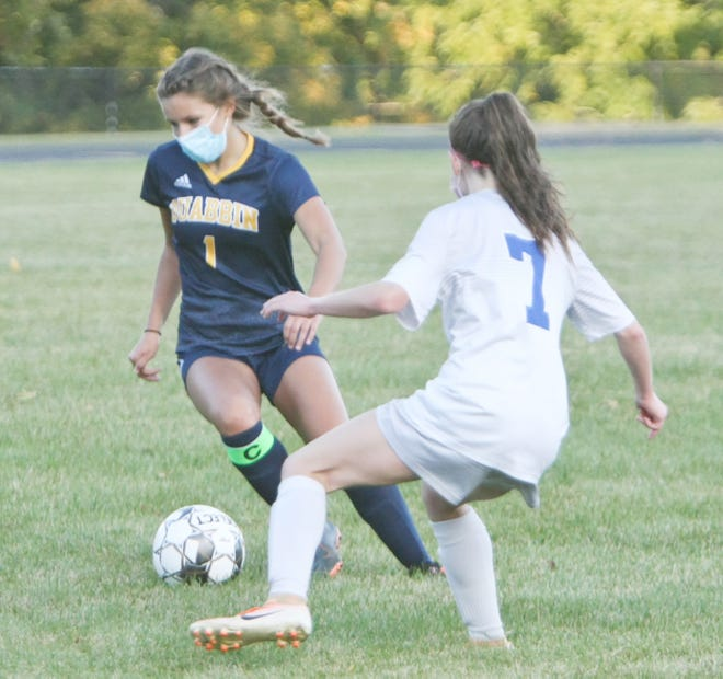 """Quabbin senior captain Riley Rischitelli (1) leads the Panthers in scoring with seven goals and two assists after spending the summer extending her shooting range out to 20 yards, but it's her on-field vision which impresses Quabbin head coach Jamie Cook. """"Riley plays soccer like someone who plays chess. She always seems to be a few moves ahead of everybody on the field,"""" Cook said."""