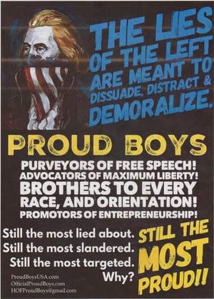 Posters promoting the far-right group Proud Boys were found posted in a Massillon shopping center over the weekend.