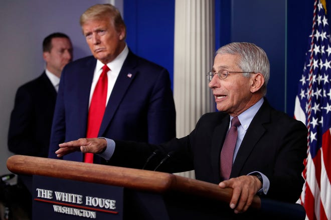 President Donald Trump listens as Dr. Anthony Fauci, director of the National Institute of Allergy and Infectious Diseases, speaks in April about the coronavirus in the James Brady Press Briefing Room of the White House in Washington.